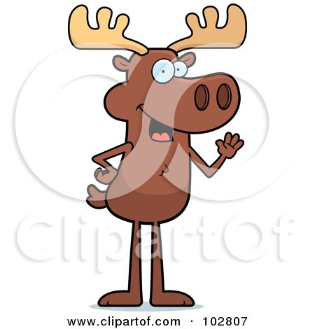 Royalty-Free (RF) Clipart Illustration of a Standing Friendly Moose Waving by Cory Thoman
