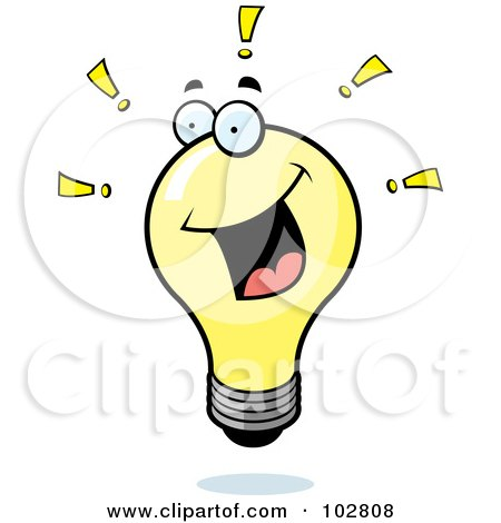 Royalty-Free (RF) Clipart Illustration of a Bright Lightbulb With Exclamation Points by Cory Thoman