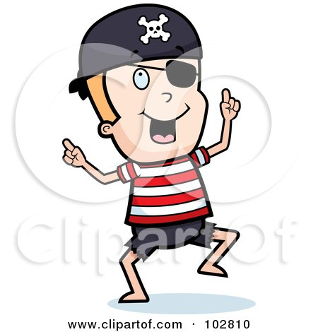 Royalty-Free (RF) Clipart Illustration of a Happy Dancing Pirate Boy With An Eye Patch by Cory Thoman