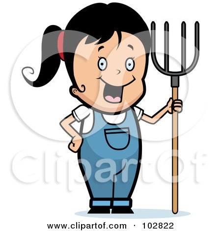 Royalty-Free (RF) Clipart Illustration of a Happy Farmer Girl With A Pitchfork by Cory Thoman