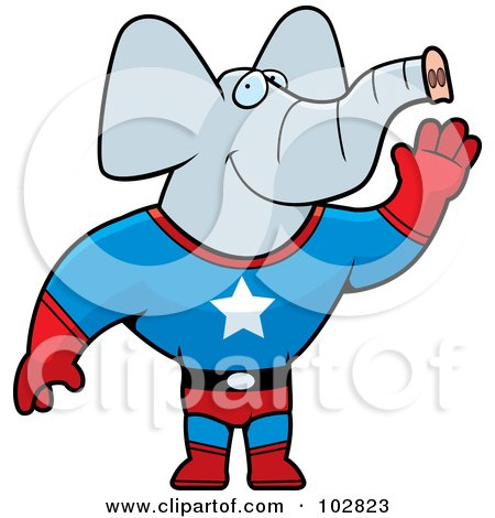 Royalty-Free (RF) Clipart Illustration of a Super Hero Elephant Waving by Cory Thoman