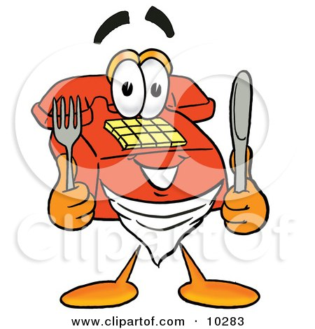 Clipart Picture of a Red Telephone Mascot Cartoon Character Holding a Knife and Fork by Toons4Biz