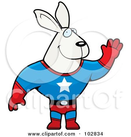 Royalty-Free (RF) Clipart Illustration of a Waving Rabbit Super Hero by Cory Thoman