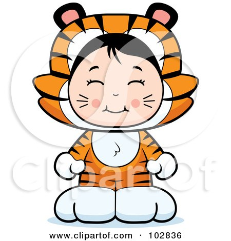 Royalty-Free (RF) Clipart Illustration of a Cute Asian Girl In A Tiger Costume by Cory Thoman