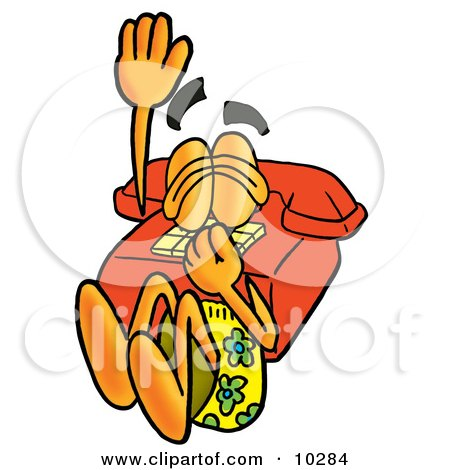 Clipart Picture of a Red Telephone Mascot Cartoon Character Plugging His Nose While Jumping Into Water by Toons4Biz