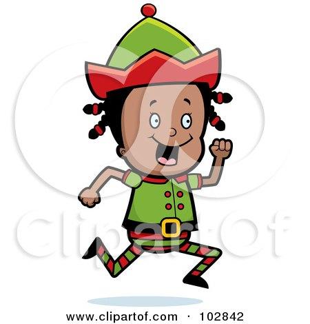 Royalty-Free (RF) Clipart Illustration of a Little Black Elf Girl Running by Cory Thoman
