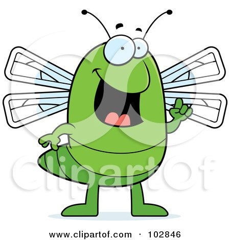 Royalty-Free (RF) Clipart Illustration of a Green Dragonfly With An Idea by Cory Thoman