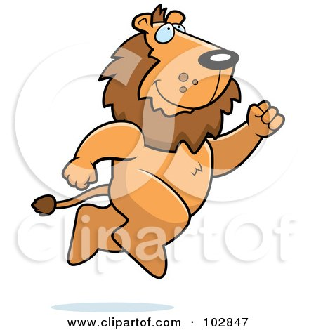 Royalty-Free (RF) Clipart Illustration of a Lion Taking A Leap by Cory Thoman