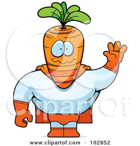 Royalty-Free (RF) Clipart Illustration of a Waving Carrot Super Hero by Cory Thoman