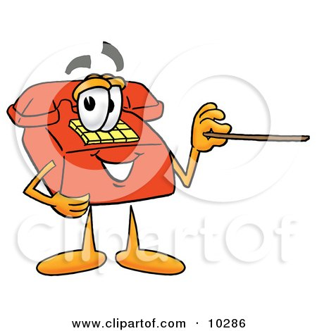 Clipart Picture of a Red Telephone Mascot Cartoon Character Holding a Pointer Stick by Toons4Biz