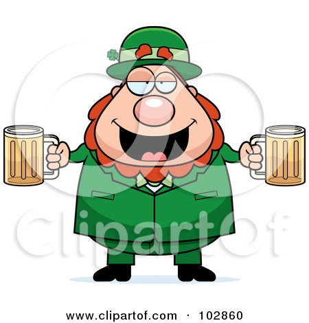 Royalty-Free (RF) Clipart Illustration of a Chubby Leprechaun With Beer Mugs by Cory Thoman