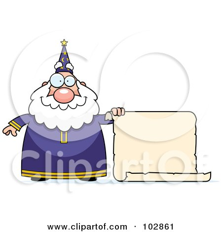 Royalty-Free (RF) Clipart Illustration of a Chubby Wizard Holding A Blank Scroll Sign by Cory Thoman