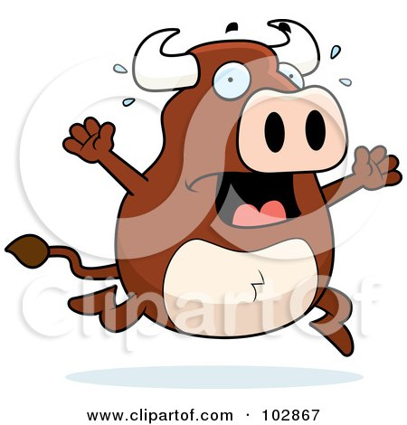 Cartoon Of An Outlined Buff Bull Behind A Wooden Sign
