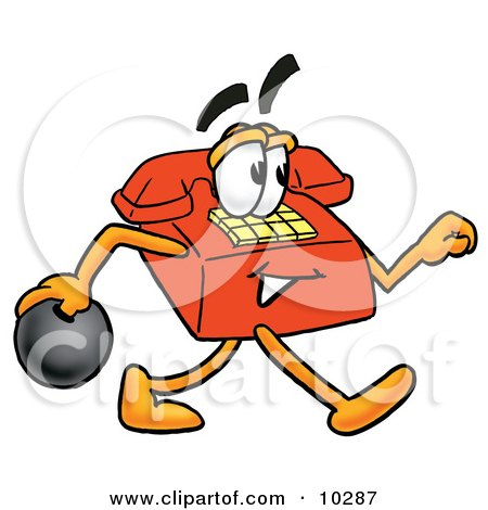 Clipart Picture of a Red Telephone Mascot Cartoon Character Holding a Bowling Ball by Toons4Biz