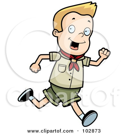 Royalty-Free (RF) Clipart Illustration of a White Scout Boy Running by Cory Thoman