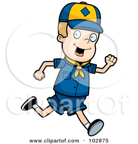 Royalty-Free (RF) Clipart Illustration of a White Cub Scout Boy Running by Cory Thoman