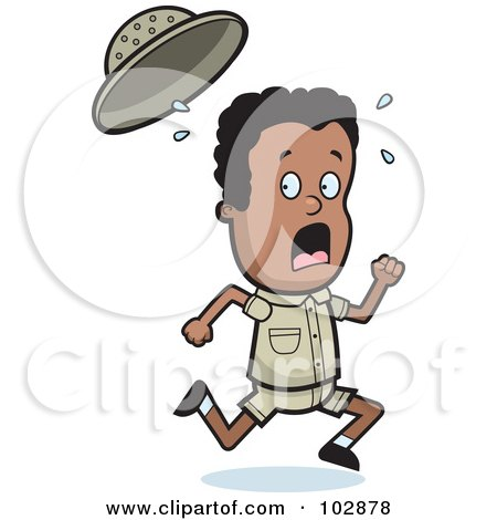 Royalty-Free (RF) Clipart Illustration of a  Scared Safari Boy Running by Cory Thoman
