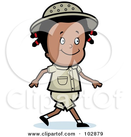 Royalty-Free (RF) Clipart Illustration of a Happy Black Safari Girl Walking by Cory Thoman