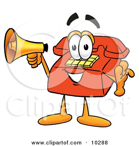 Clipart Picture of a Red Telephone Mascot Cartoon Character Holding a Megaphone by Toons4Biz