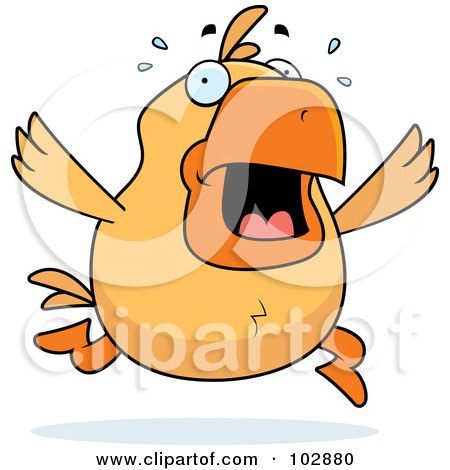 Royalty-Free (RF) Clipart Illustration of a Stressed Orange Chicken Panicking by Cory Thoman
