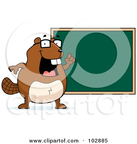 Royalty-Free (RF) Clipart Illustration of a Teacher Beaver Pointing To A Chalk Board by Cory Thoman