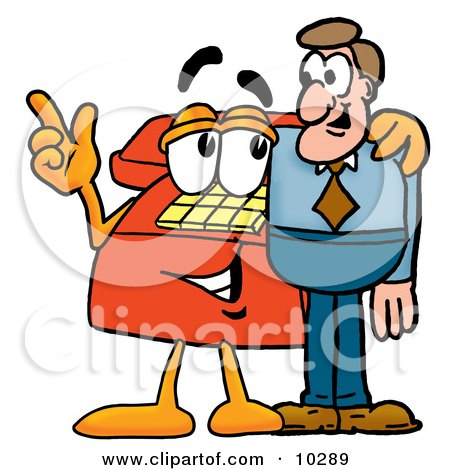 Clipart Picture of a Red Telephone Mascot Cartoon Character Talking to a Business Man by Toons4Biz