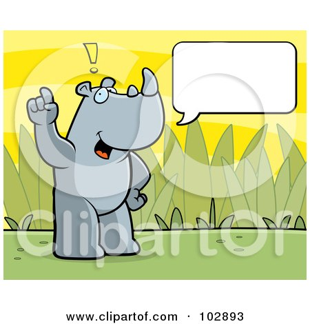 Royalty-Free (RF) Clipart Illustration of a Standing Rhino Making A Comment, With A Text Box by Cory Thoman