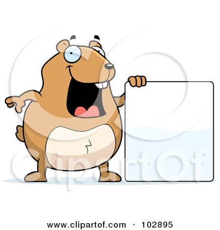 Royalty-Free (RF) Clipart Illustration of a Happy Hamster Holding A Blank Sign by Cory Thoman