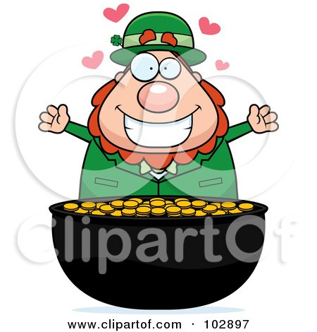 Royalty-Free (RF) Clipart Illustration of a Chubby Leprechaun Over His Gold by Cory Thoman