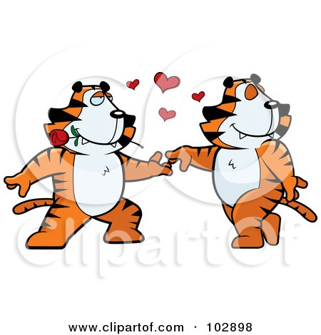 Royalty-Free (RF) Clipart Illustration of a Romantic Tiger Couple Dancing by Cory Thoman