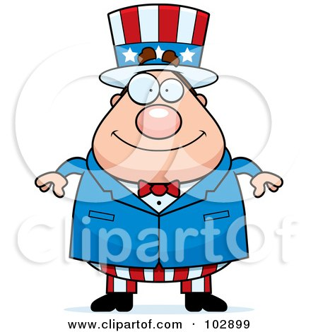 Royalty-Free (RF) Clipart Illustration of a Chubby Uncle Sam by Cory Thoman