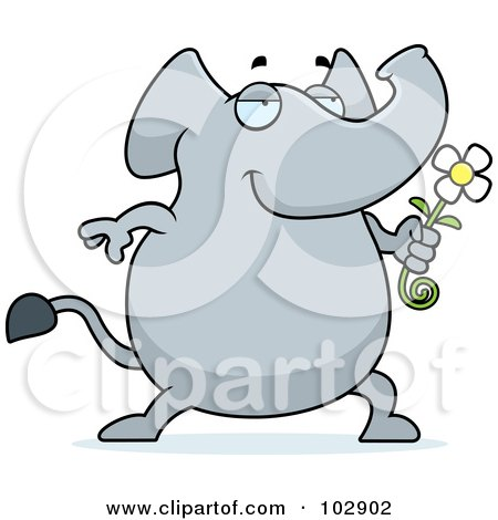 Royalty-Free (RF) Clipart Illustration of a Romantic Elephant Giving A Daisy by Cory Thoman