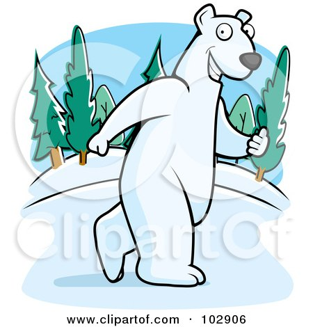 Royalty-Free (RF) Clipart Illustration of a Polar Bear Walking Upright by Cory Thoman