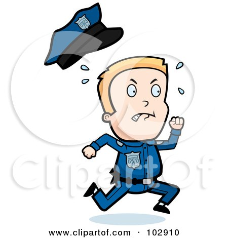 Royalty-Free (RF) Clipart Illustration of a Little Police Man Running And Sweating by Cory Thoman