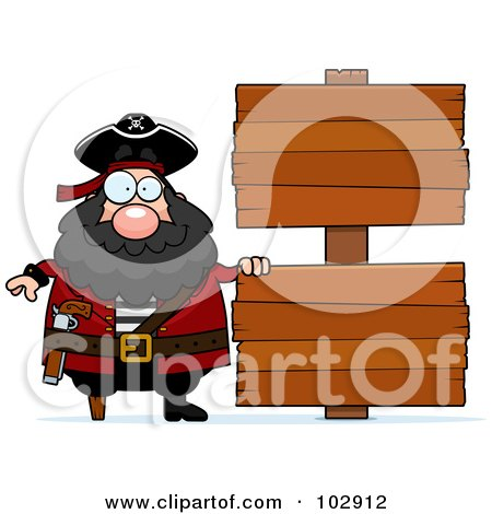 Royalty-Free (RF) Clipart Illustration of a Chubby Pirate By Double Wooden Signs by Cory Thoman