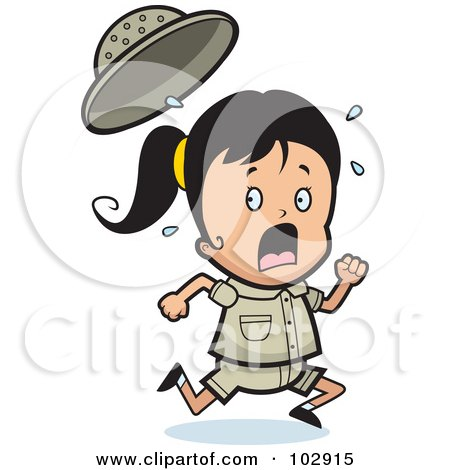 Royalty-Free (RF) Clipart Illustration of a Scared Safari Girl Running by Cory Thoman