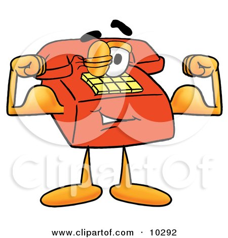 Clipart Picture of a Red Telephone Mascot Cartoon Character Flexing His Arm Muscles by Toons4Biz