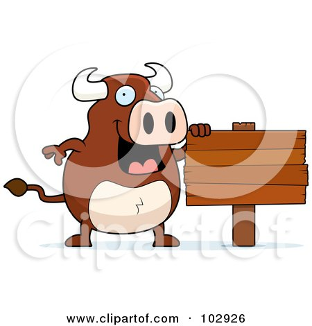 Royalty-Free (RF) Clipart Illustration of a Happy Bull Standing By A Wood Sign by Cory Thoman