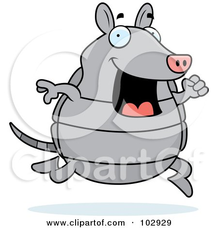Royalty-Free (RF) Clipart Illustration of a Happy Armadillo Running by Cory Thoman