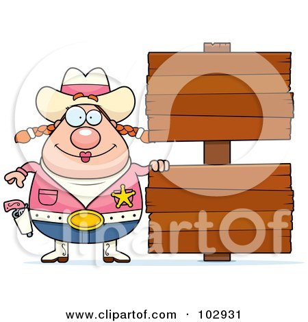 Royalty-Free (RF) Clipart Illustration of a Chubby Cowgirl By Double Wooden Signs by Cory Thoman