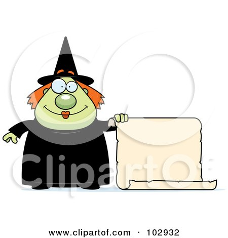 Royalty-Free (RF) Clipart Illustration of a Chubby Witch Holding A Blank Scroll Sign by Cory Thoman