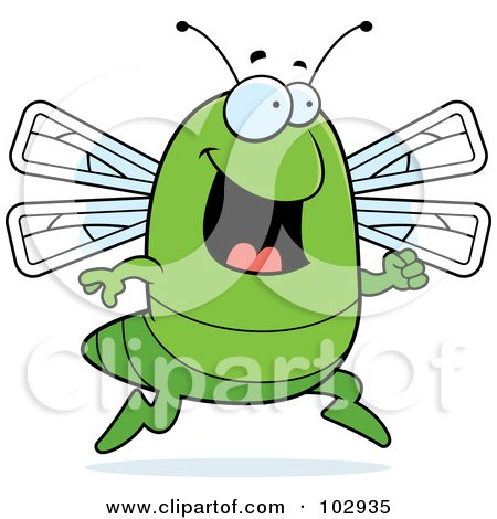 Royalty-Free (RF) Clipart Illustration of a Happy Running Dragonfly by Cory Thoman