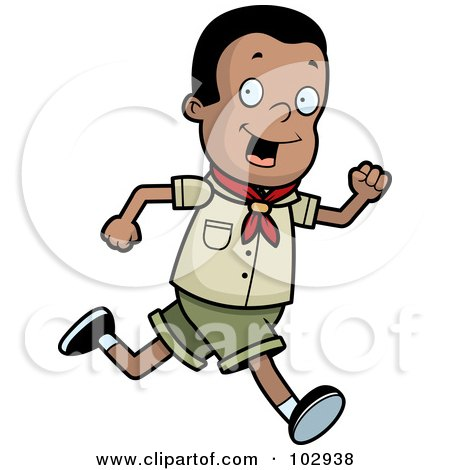 Royalty-Free (RF) Clipart Illustration of a Black Scout Boy Running by Cory Thoman