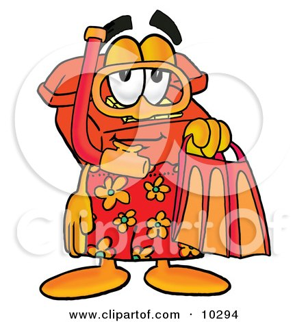 Clipart Picture of a Red Telephone Mascot Cartoon Character in Orange and Red Snorkel Gear by Toons4Biz