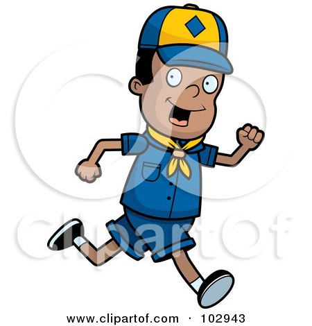 Royalty-Free (RF) Clipart Illustration of a Black Cub Scout Boy Running by Cory Thoman