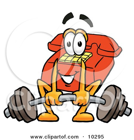 Clipart Picture of a Red Telephone Mascot Cartoon Character Lifting a Heavy Barbell by Toons4Biz