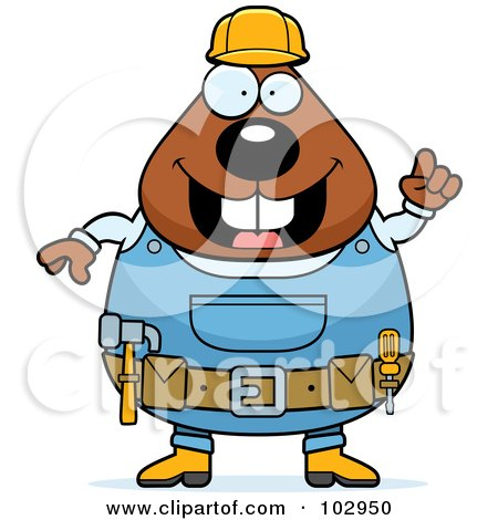 Royalty-Free (RF) Clipart Illustration of a Chubby Beaver Construction Worker by Cory Thoman