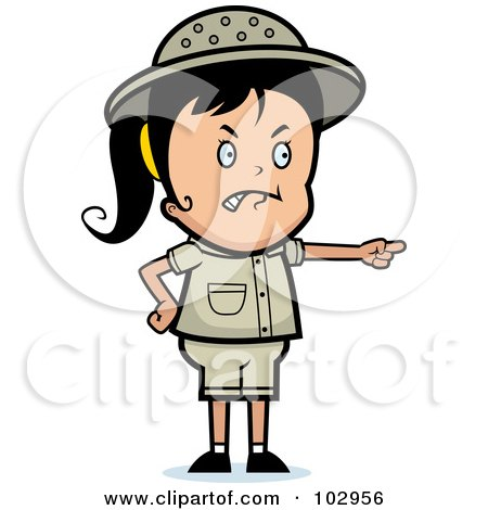Royalty-Free (RF) Clipart Illustration of a Mad Pointing Safari Girl by Cory Thoman