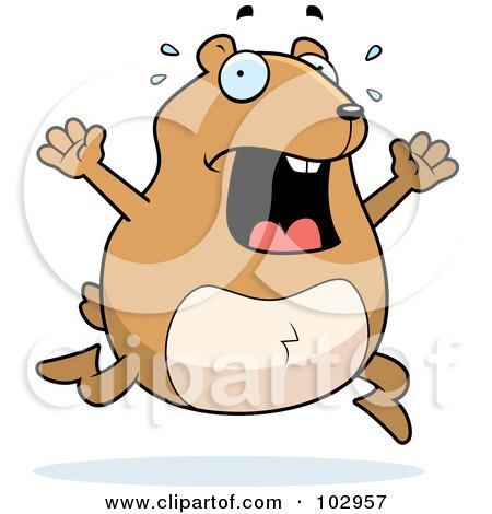 Royalty-Free (RF) Clipart Illustration of a Stressed Hamster Running by Cory Thoman