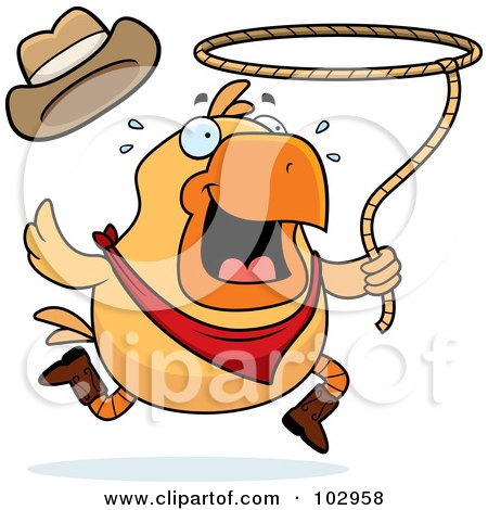 Royalty-Free (RF) Clipart Illustration of a Rodeo Chicken Swinging A Lasso by Cory Thoman